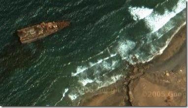 foto desde satélite del American Star varado en Fuerteventura visto en G**gle Maps