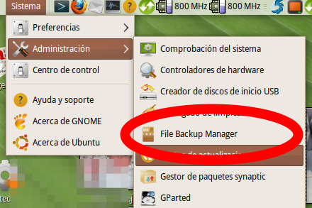 pantallazo menu inicio file backup manager