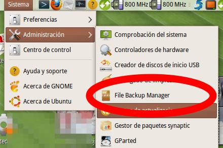 pantallazo menu inicio file backup manager