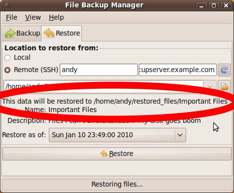 pantallazo opciones restaurar pybackpack