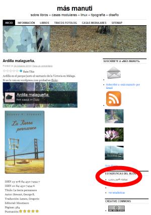 pantallazo del blog manuti con el megapeich | 1 millón de visitas